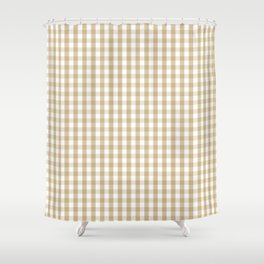 Christmas Gold Large Gingham Check Plaid Pattern Shower Curtain
