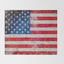 Distressed American Flag On Old Brick Wall - Horizontal Throw Blanket