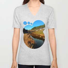A river, the valley and traditional farmland | waterscape photography Unisex V-Neck