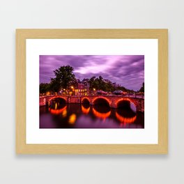 Canal lights near the Reguliersgracht in Amsterdam during sunset Framed Art Print