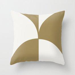 Diamond Series Round Checkers Gold on White Throw Pillow