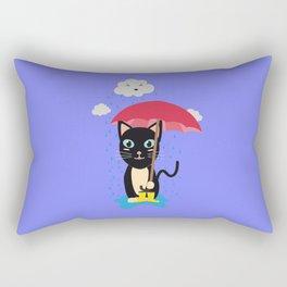 Cat in the rain with Umbrella Rectangular Pillow