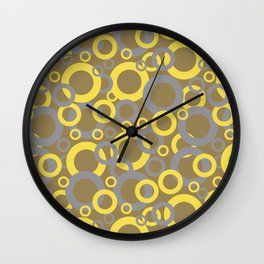 Gray Yellow Brown Funky Ring Pattern V9 2021 Color of the Year and Accent Shades Wall Clock