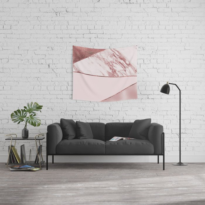 Spliced mixed pinks rose gold marble Wall Tapestry
