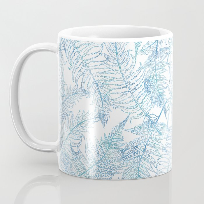 Fern Silhouette Blue Coffee Mug