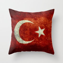 National flag of Turkey, Distressed worn version Throw Pillow