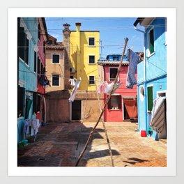 Laundry Day In Burano. Art Print