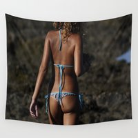 bikini Wall Tapestries featuring Bikini Girls 002 by John Lyman Photos