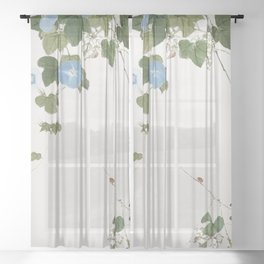 East Asian Chinese Japanese Watercolor Floral Minimalist Zen Art Sheer Curtain