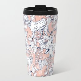 Leopards in the pink jungle Travel Mug