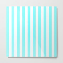 Vertical Stripes (Aqua & White Pattern) Metal Print