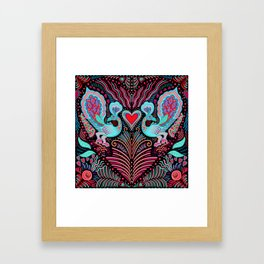 Peacock Valentines Framed Art Print