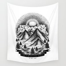 FIND A BEAUTIFUL PLACE TO GET LOST (White) Wall Tapestry