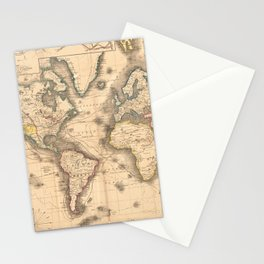 Vintage Map of the World (1850) Stationery Cards