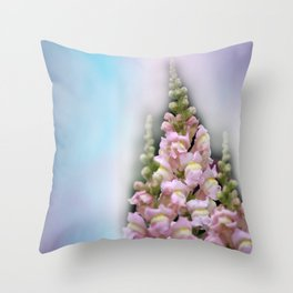 snapdragons and sky Throw Pillow