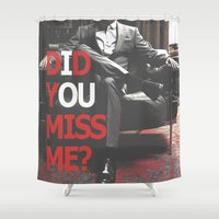 moriarty Shower Curtains featuring Did You Miss Me? / IOU / Moriarty / II by Earl of Grey
