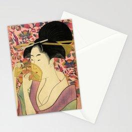 Japanese Art Print - Japanese Woman - Kushi Utamaro Stationery Cards