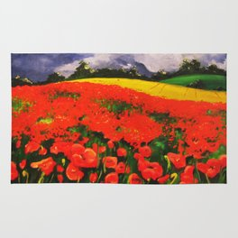 Poppies before the Storm Rug