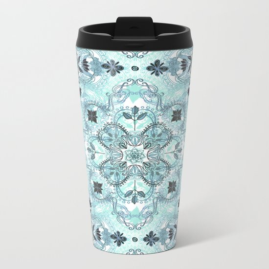 Soft Mint & Teal Detailed Lace Doodle Pattern Metal Travel Mug