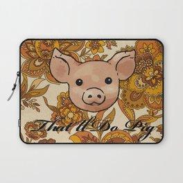 Retro Floral Piggy Laptop Sleeve