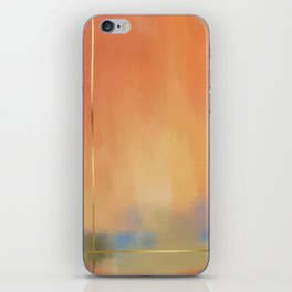 Abstract Landscape With Golden Lines Painting iPhone Skin