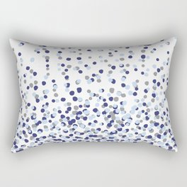 Floating Dots - Gray and Blues on White Rectangular Pillow