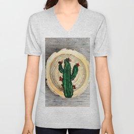 single cactus on a wood slice Unisex V-Neck
