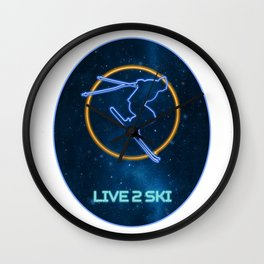 Neon Ski Jumper in Snow Against Moon TEXT: LIVE 2 SKI Wall Clock