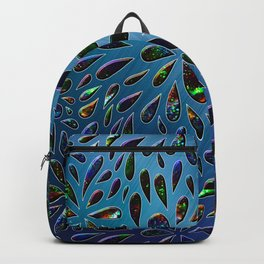 Crystal Drops In Blue Metallic Background Backpack