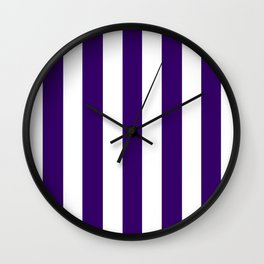 Deep violet - solid color - white vertical lines pattern Wall Clock