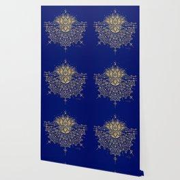 Sacred Lotus Mandala – Navy & Gold Palette Wallpaper