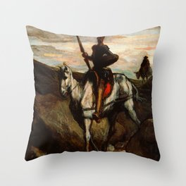 "Honoré Daumier ""Don Quixote in the Mountains"" Throw Pillow"