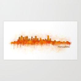 Houston City Skyline Hq v3 Art Print