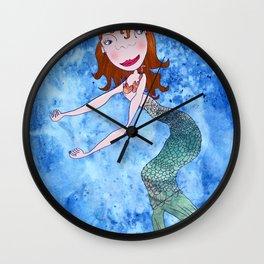 the redhead mermaid Wall Clock