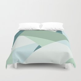 Modern abstract beach color block geometric stripes blue green pattern Duvet Cover