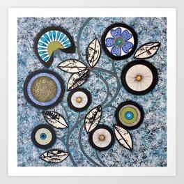 Lovely Flowers Blue Art Print