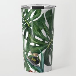 Monstera leaf with snails Travel Mug
