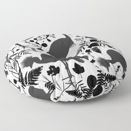 Black crowned crane with grass and flowers black silhouette Floor Pillow