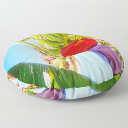 Colorful banana flower Mexico Floor Pillow