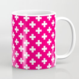 White Crosses on Hot Neon Pink Coffee Mug
