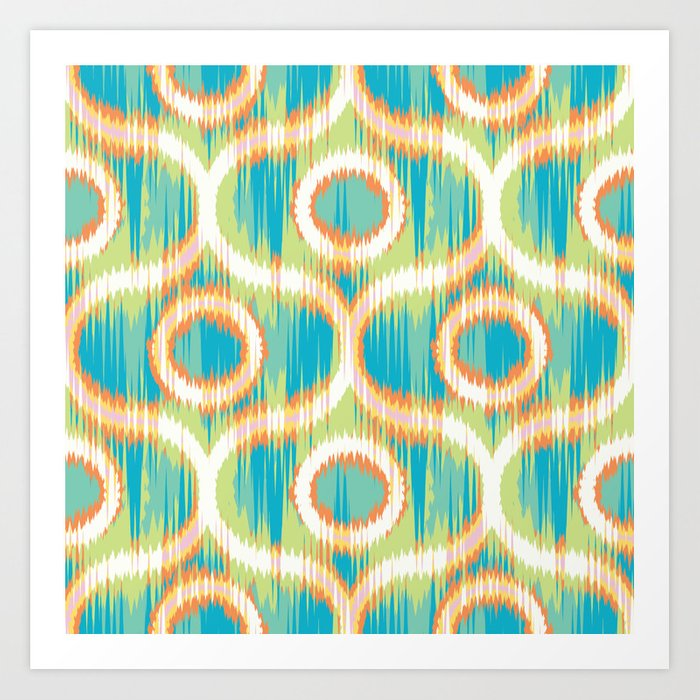 Flaming Cold Ikat Art Print by patternprints   Society6
