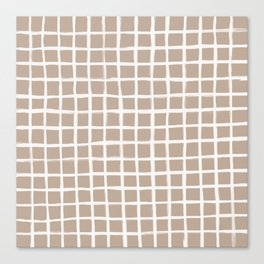 Strokes Grid - Off White on Nude Canvas Print