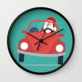 Santa Claus coming to you on his Car Sleigh Wall Clock
