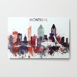 Montreal Watercolor Skyline Metal Print