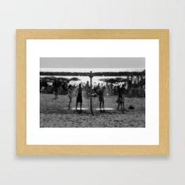 Beach shower Framed Art Print