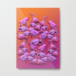 Flamingos Sunrise Metal Print