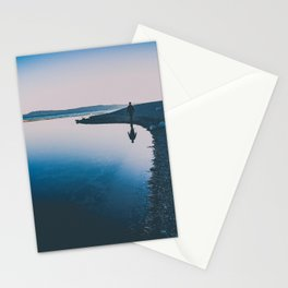 serene reflection walking by the water Stationery Cards