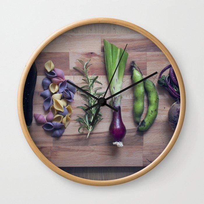 Nightshade pasta ingredients Wall Clock