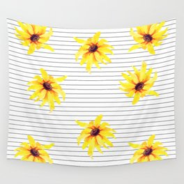 Yellow Daises on Minimal Black and White Stripes Wall Tapestry
