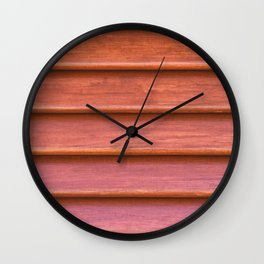 Red colored wooden texture of old shutter Wall Clock